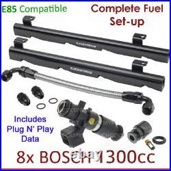 8x BOSCH 1300cc E85 Injectors & Fuel Rail Setup For Holden HSV Commodore VN 5.0L