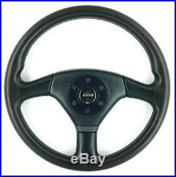 Genuine Momo Cobra 350mm black leather steering wheel, 1992. Retro classic. 7A