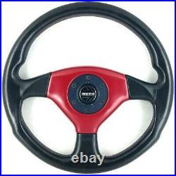 Genuine Momo Cobra 360mm black leather, red centre steering wheel. 1992. 18B