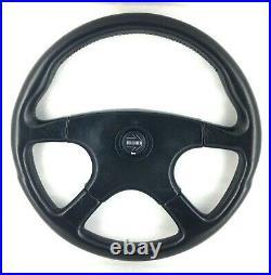 Genuine Momo Ghibli 4 380mm black leather steering wheel. Classic Retro 1990. 7A