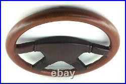 Genuine Momo Ghibli 4 380mm brown leather 4 spoke steering wheel. Rare 1984 7E