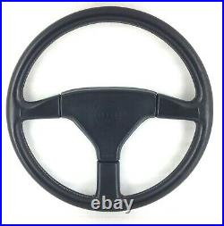 Genuine Momo Ghibli, Mazda 3 spoke 370mm black leather steering wheel. 1990. 14A