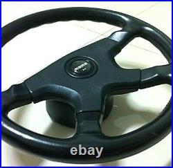 Genuine Momo Ghibli black leather steering wheel horn pad 1001. Retro. Ref 9B1