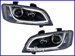 Holden Ve Commodore Series 1 & HSV LED DRL Black Projector Head Lights SSV SV