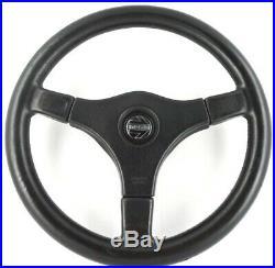 Momo Master 360mm 3 spoke black leather car steering wheel. Genuine. Classic 7C