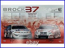 PETER BROCK MARK SKAIFE HOLDEN HRT HAND SIGNED PRINT Commodore V8 HSV GTS