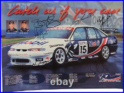 Signed Peter Brock Murphy Lowndes Skaife 1997 HRT Poster Holden Commodore VS #15